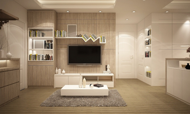 Furnished living room in a home
