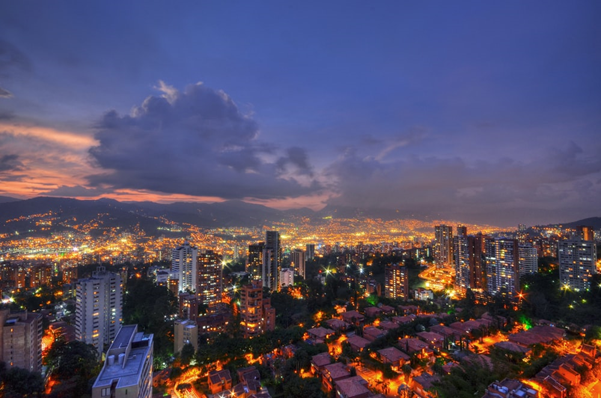 A beautiful shot of Medellin at night